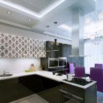 необычный дизайн кухни гостиной с перегородкой фото