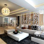 светлый стиль гостиной кухни с перегородкой картинка