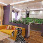 современный интерьер кухни гостиной с перегородкой фото