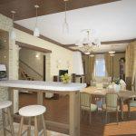 необычный фасад гостиной кухни с перегородкой картинка
