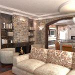 светлый дизайн гостиной кухни с перегородкой фото