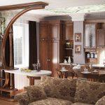 необычный дизайн гостиной кухни с перегородкой фото