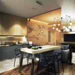 яркий интерьер гостиной кухни с перегородкой фото
