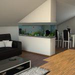 светлый декор гостиной кухни с перегородкой фото
