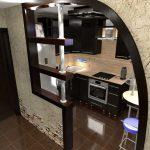 яркий фасад гостиной кухни с перегородкой картинка