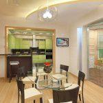 красивый интерьер гостиной кухни с перегородкой фото