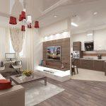 яркий дизайн кухни гостиной с перегородкой фото