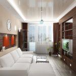 яркий интерьер гостиной кухни с перегородкой картинка