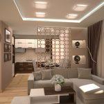 современный интерьер гостиной кухни с перегородкой фото