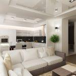яркий интерьер кухни гостиной с перегородкой картинка