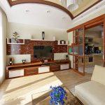 красивый фасад кухни гостиной с перегородкой картинка