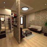 яркий стиль гостиной кухни с перегородкой фото