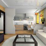 красивый дизайн кухни гостиной с перегородкой фото