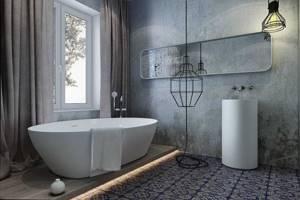 Фото 1. Штукатурное покрытие, имитирующее необработанный бетон, в интерьере ванной.jpg