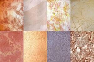 На фото — примеры отделки стен различными составами с применением разных технологий декорирования