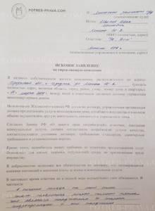 Пример заполнения иска в суд на управляющую компанию (1)