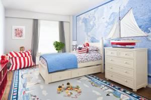 Дизайн детской комнаты в голубых тонах