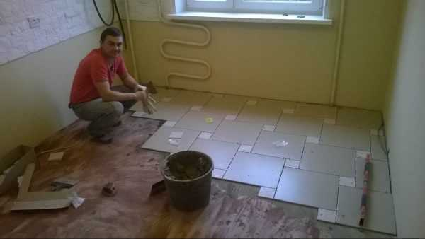 Кафельная плитка на полу в кухне