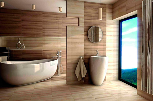 Керамическая плитка для ванной под дерево