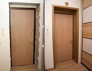 Обшивка откосов входной двери МДФ панелями