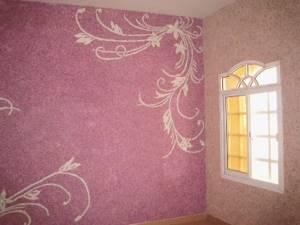 Жидкие обои с художественным рисунком в розовых тонах
