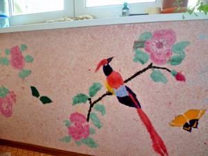 Жидкие обои с рисунком птицы на цветках