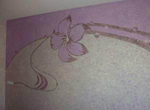 Жидкие обои с рисунков цветка с блёстками