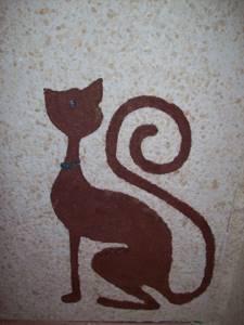 Жидкие обои в комнате с изображением кота
