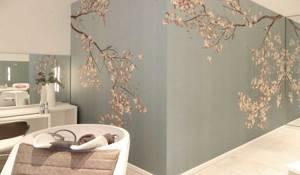 Жидкими обоями можно наносить на стены даже сложные узоры... или картины